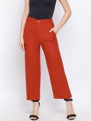 Rust Fiori Structure Linen Women Pant