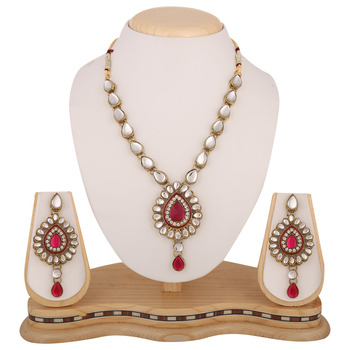 Ethnic Indian Antique Jewelry Dark Pink Rani Kundan Like Work Necklace Set b160r