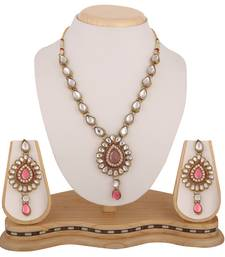 Antique Jewelry Pink Kundan Like Work Necklace Set b160lp shop online