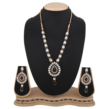 Black Antique jewelry white kundan like work necklace set b160k