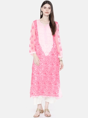 Pink Embroidered Georgette Chikankari Kurti