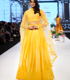 Turmeric Yellow Gold Kasab Jacquard- Chanderi readymade Lehenga-choli-dupatta