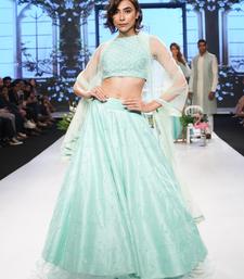 Neo Mint Neo- mint Kardana and Resham Raw silk readymade Lehenga-choli-dupatta