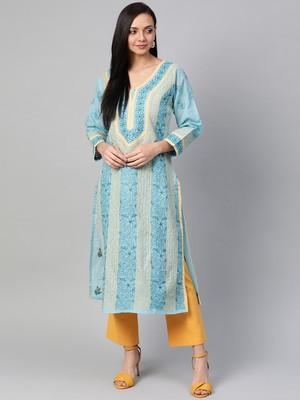 Blue Embroidered Cotton Chikankari Kurti