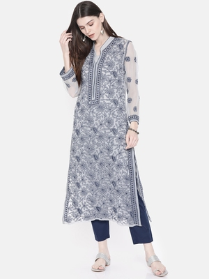 Grey Embroidered Faux Georgette Chikankari Kurti