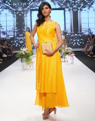Saffron Resham and Kasab Chanderi readymade kurta set
