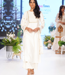 Cream Gold Kasab and Kardana Chanderi and Jacquard Chanderi readymade Suit set