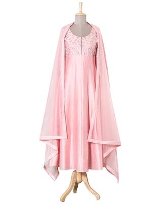 Onion Pink Multi- colour Resham and Kasab Chanderi readymade Anarkali suit