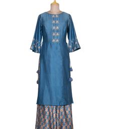 Blue Stone Resham Chanderi readymade Tunic set