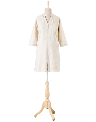 Beige Plain Cotton readymade Tunic