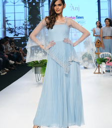 Denim Blue  Kardana   Net readymade Gown