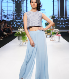 Denim Blue Resham and Kardana raw silk crop top set
