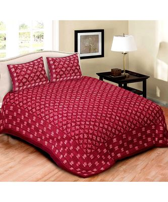 MAROON  DABU PRINT COTTON DOUBLE KING SIZE BED SHEET WITH CHAIN PILLOW COVER