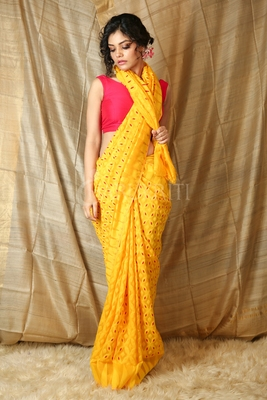 Yellow hand woven blended cotton saree