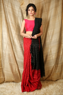 Red hand woven blended cotton saree