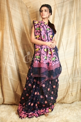 Blue hand woven blended cotton saree