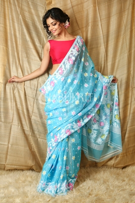 Sky blue hand woven blended cotton saree