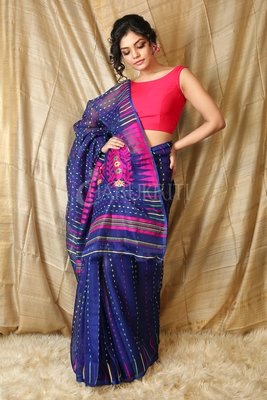 Navy blue hand woven blended cotton saree