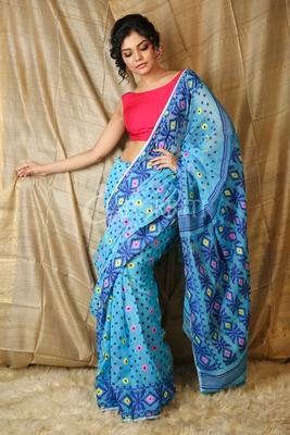 Dark sky blue hand woven blended cotton saree