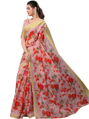 Baby pink printed linen saree with blouse