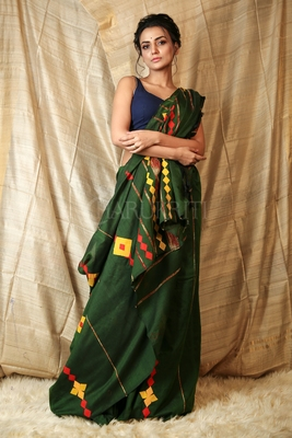 Green embroidered blended cotton saree with blouse