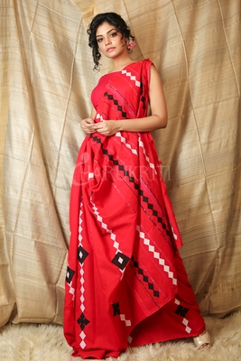 Red embroidered blended cotton saree with blouse