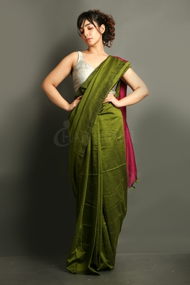 Green plain blended cotton saree with blouse