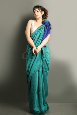 Teal plain blended cotton saree with blouse