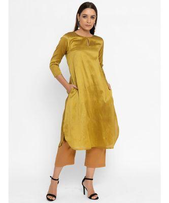 Yellow Silk Blend Flare Kurta pant