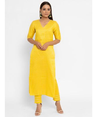 Chanderi Yellow Striped Long-Slit Straight Kurta Pant Set
