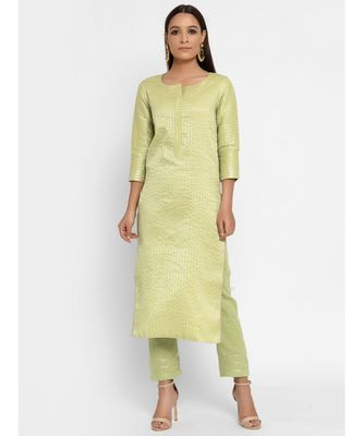 Chanderi Green Round Neck Striped Straight Gota Kurta Pant Set