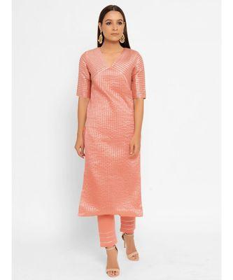 Chanderi Peach Striped Diagonal Yoke Straight Gota Kurta Pant Set