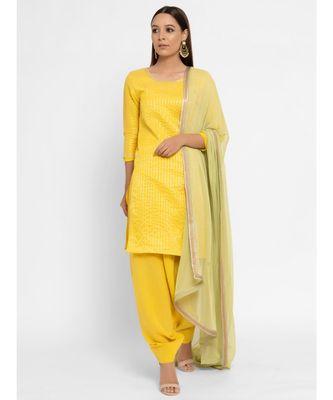 Chanderi Yellow Striped Tassle Kurta Patiala Set