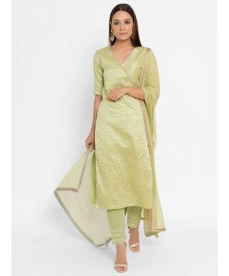 Chanderi Green Striped Straight Gota Kurta Pant Dupatta Set