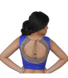 royal blue dupion silk blouse with mirror and handwork on the back