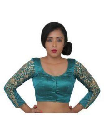 SeaGreen dupion silk long sleeves blouse