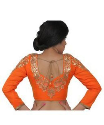 Orange dupion silk long sleeves blouse