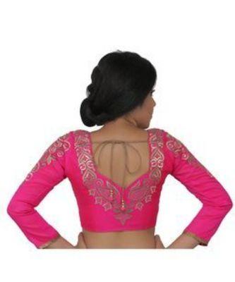 Pink dupion silk long sleeves blouse