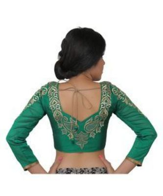 Green dupion silk long sleeves blouse