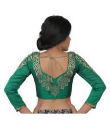 Green dupion silk long sleeves blouse