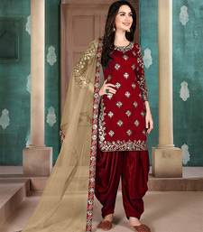 Red embroidered art silk salwar
