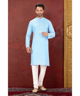 turquoise plain Cotton kurta pajama