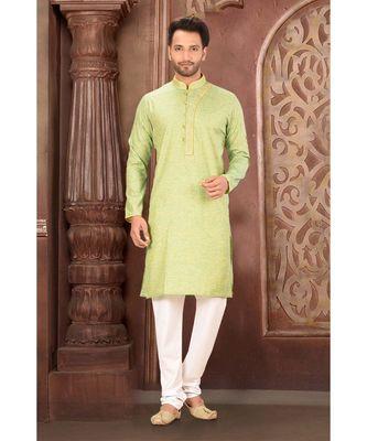 green embroidered Cotton kurta pajama