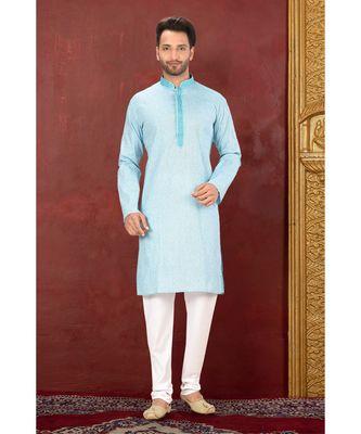 turquoise embroidered Cotton kurta pajama