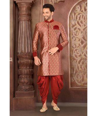 red embroidered banarasi indo western dresses