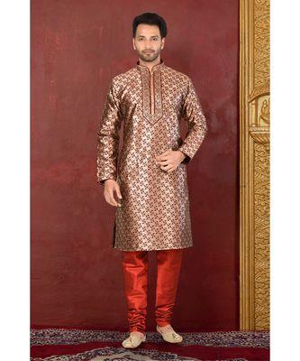 maroon embroidered banarasi kurta pajama