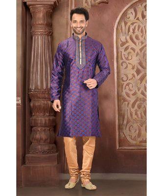 purple embroidered banarasi kurta pajama