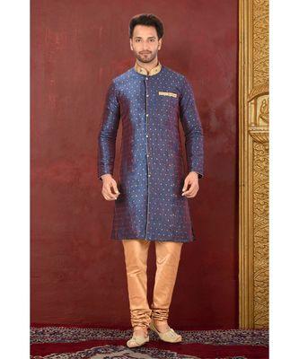 blue embroidered art silk kurta pajama