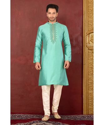 turquoise embroidered cotton kurta pajama