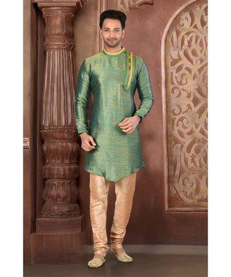 green embroidered Silk kurta pajama